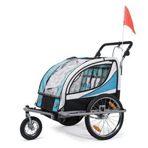 SAMAX Remorque Vélo convertible Jogger 2en1 360° rotatif Pour 2 Enfants Amortisseur Transport Poussette en Bleu – Silver Frame