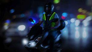 SCILIF Unisexe – Adulte Motovest Gilet Moto avec éléments réfléchissants et Technologie de lumière brevetée Unique High Visibility Jaune M