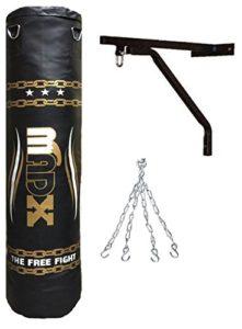 Solide sac de frappe rembourré Madx d'1,5 m + chaîne + support – Kit de kick boxing, MMA