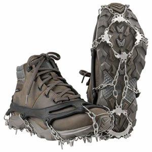 Terra Hiker Crampon à Neige Antidérapant Antiglisse pour Chaussures à 18 Dents pour Randonnée Trekking Marche Escalade (Noir, M)