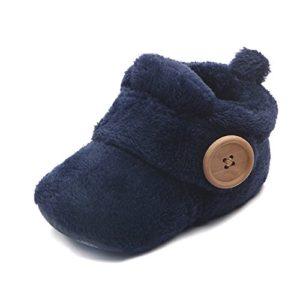 TININNA Bébé Confortable Peluche Bébé Hiver Bottes Neige Chaussures Coton doux Antidérapant Unique Bambin Prewalker Chaussures de Berceau avec Botton Foncé Bleu #13