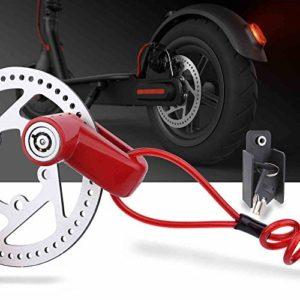 TOMALL Rouge Serrure De Frein À Disque Anti-vol Fil En Acier Serrure Pour Xiaomi Mijia M365 Moto Vélo Roues Casier Avec Rappel