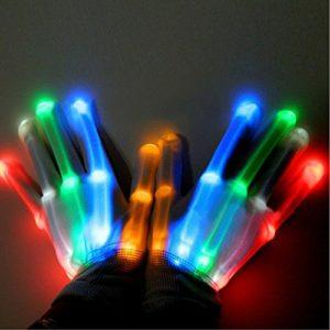 Une paire Danse Carnaval Concert fête d'éclairage LED Clignotant Glow Coton doigt Main Gloves-colorful