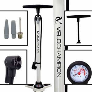 VeloChampion Pro Pompe a Pied Cycliste Haute Pression Pro High Pressure Track Pump (Blanc)