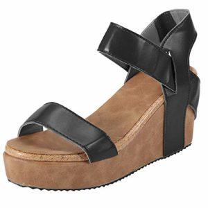 WINJIN Sandale Femme Compensées Plateforme Sandales de Ville Femmes Mode Sandales Corde Lanière Cheville Sandale Talon Compensé Plateforme Chaussures Sandales Femme Plage