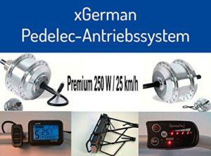 XGerman kit d'extension 28'250W/36 traction avant avec porte-bagages – 10A batterie 25hm à/h à 75km selon passager, etc. avec écran lCD