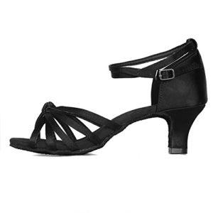 YKXLM Femme&Fille Chaussons de Danse Latine Standard Salle de Bal Chaussures,A217-5,Noir Color,EU 38.5