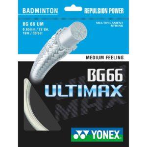 Yonex BG-66 Cordage Ultimax pour raquette de badminton 10 m Blanc blanc