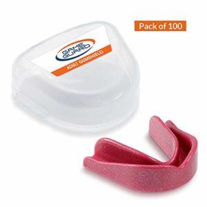 100X Jeu de Bouche de Dents/Protection/Gum Shield–Protège-dents, Approuvé CE, idéal pour l'école, Sports, boxe, Rugby, Hockey, MMA,, Rose/brillant