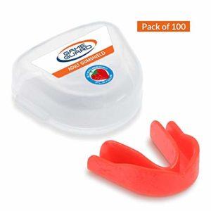 100X Jeu de protections de Bouche dents/Protection/Gum Shield–Protège-dents, Approuvé CE, idéal pour l'école, Sports, boxe, Rugby, Hockey, MMA, Fraise, menthe verte et cassis, Fraise