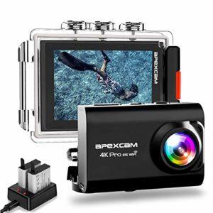 [2019 Nouvelle] Apexcam Pro EIS Caméra Sport 4K 20MP WiFi 170 ° Grand-Angle Action Caméra 40M Caméra Etanche Externe Mic 2.0 » LCD HD Ecran 2.4G Télécommande 2 Piles Rechargeables et Accessoires