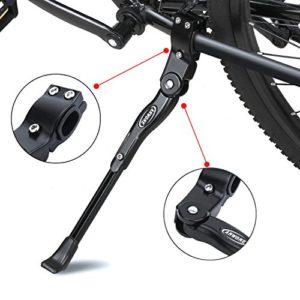 ANWONE Réglable Bike Side,Alliage d'aluminium réglable MTB Bike Stand avec Pied en Caoutchouc antidérapant,Universal Kick Stand d'alliage pour VTT,VTT et vélo Pliant 22″- 27″(Noir)