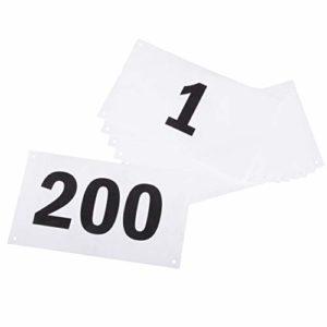 Azarxis Numéro de Dossard Numéros de Course 1-100 ou 1-200 avec Épingles de sûreté Imperméable pour Événements Sportifs Marathon (Blanc – 001-200)