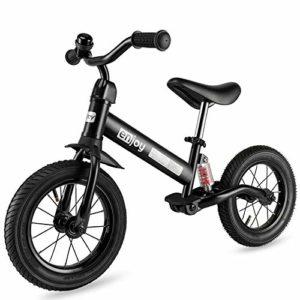 besrey Draisienne,Vélo d'équilibre. Avec Cadre antichoc et Pneus pneumatiques de 12 pouces. Selle et Guidon réglables. 3-6 ans(Moins de 25kg). Noir.