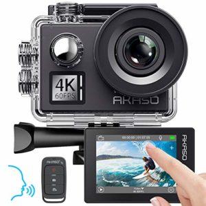 Caméra Sport 4K 60fps AKASO WiFi Télécommande Commande Vocale Ecran Tactile EIS Caméra Sportive Etanche sous Marine Angle Vision Réglable Zoom 8 Fois 2 Batteries 1050mAh Kit d'Accessoires – V50 Elite