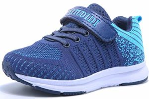 Chaussure de Sport Garçon Basket Enfant 26 Chaussure de Course Fille Sneaker Running Shoes Bleu Basses Velcro Compétition Entraînement Mixte Plein Air Outdoor Indoor Jogging Basket-Ball