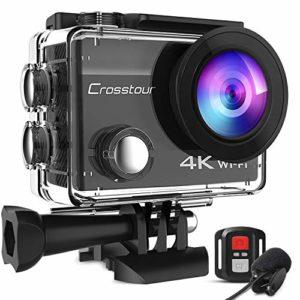 Crosstour 4K Caméra Sport 20MP WiFi Appareil Photo Étanche avec Microphone Externe Caméra Embarquée Stabilisateur Livrée avec 2 Batteries et Kit d'Accessoires pour Ski et Voyage