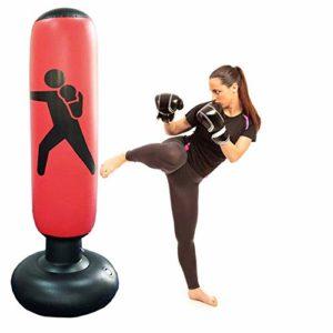 CSPone | 160CM Sac de Boxe Gonflable, Sacs de Frappe Lourds, Sac de Frappe sur Pied, Punching Ball pour Adulte Enfant pour Karaté, Fitness, MMA (Rouge)