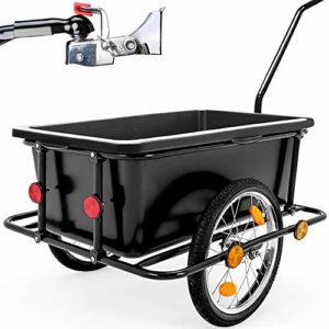 Deuba Remorque de vélo avec Barre d'attelage – poignées – pneumatiques – 90 litres