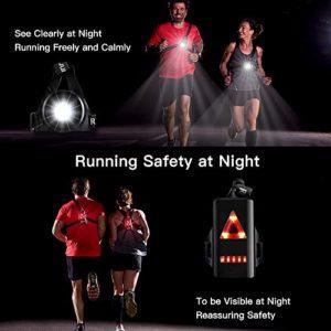 Éclairage Pour Course, BraceTek Lampe de Poitrine pour Course Rechargeable USB 3 Mode d'éclairage,A Une lumière Rouge sur Le Dos avec la sécurité,Parfait pour Les Coureurs de Nuit