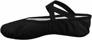 Filles Femme Demi Pointe Toile Chaussures de Ballet doux Chaussons de Danse pour Gym Yoga Danse, Noir ,38 EU