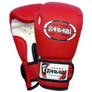 Gants de boxe pour enfants juniors de boxe Gants de MMA Gants de Sparring en cuir synthétique 4Oz rouge