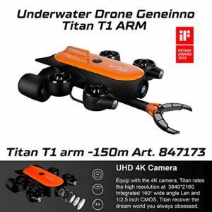 Geneinno Drone sous-Marin avec Bras Robotique Titan 150m T6T-1-150BL Monde sous-Marin Pêche Enregistrement 847173