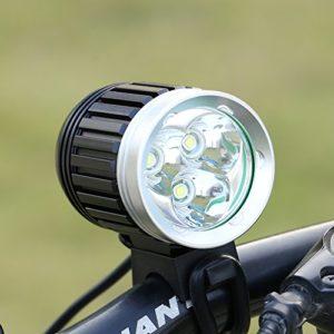 GHB Lampe VTT LED Puissante Lampe Vélo Eclairage VTT Phare Vélo LED Rechargeable Etanche 4000 LM 3 T6 CREE XM-L de 4 Mode de Lumière+Batteries Lithium+Chargeur+Bandeau Réglable+Phare Arrière
