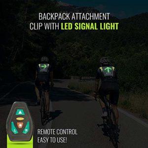 Gilet LED Clignotants 4 Signaux de Circulation Réfléchissant pour Cycliste avec Télécommande Sans-Fil, Batterie Rechargeable en 4H avec 15H d'Autonomie, Sangles Réglables, en Bonus support de Poignet