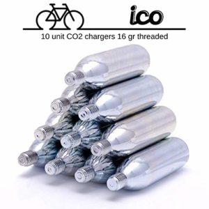 Impeccable Culinary Objects (ICO) Cartouches CO2 16g Filetée Pour Pompe à CO2 – Gonfleur de Pneu de Vélo pour Route et VTT – Lot de 10