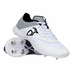 KOOKABURRA 2028 KC 3.0 Spike Cricket Shoe White/Grey Chaussure Mixte, Blanc/Gris, Taille 40