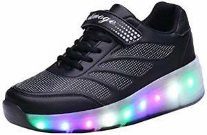 LED Chaussures à roulettes de Skateboard 7 Couleurs Clignotantes Chaussure de Sport avec Rouleau Multisports Outdoor Athlétisme Gymnastique Running Sneaker Automatiques Rétractables Baskets Mode