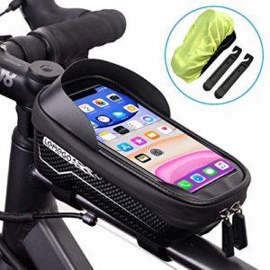 LEMEGO Sacoche Vélo Téléphone Étanche, Support Téléphone Vélo Cadre Guidon avec Housse de Pluie Imperméable Pochette Rangement Ecran Tactile pour Smartphone sous 6,5 Pouces