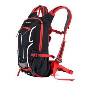 Lixada 18L unisexe Sac à dos respirant Ultraléger pour vélo randonnée Sports de plein air Équitation Voyage Alpinisme porter Hydratation Eau Sac avec housse de pluie (rouge)