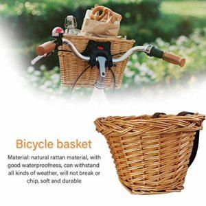 Lucky-all star Panier de vélo pour Enfants avec Guidon Avant – Panier de vélo en Osier tressé Fait Main, lanières de Cuir résistantes à l'eau et réglables pour étudiants Garçons Filles Garçons