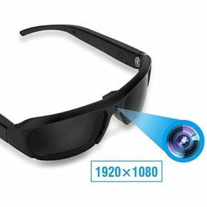 Lunettes de Caméscope Vidéo Portable, 1080P 5MP HD Lunette de Soleil de Sport avec Caméra Invisiable pour Cyclisme/Ski/Outdoor Activities, Compatible avec System Windows/Mac OS