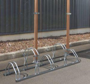Mottez Râtelier à vélos 2 Niveaux côte à côte 5 vélos Gris 160 x 39 x 49 cm