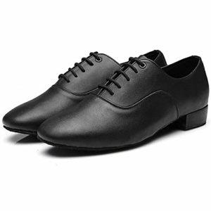 MQFORU Chaussure de Danse Homme Garçon pour Danse Moderne Latine Jazz Salsa Tango Salle de Bal en Cuir Semelle Souple ,Noir Mate,45 EU