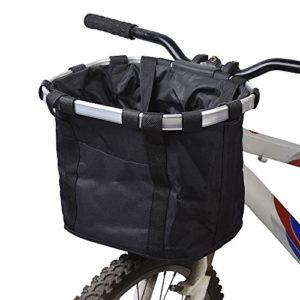 Panier pour avant de vélo amovible en toile, panier de transport pour animal domestique, cadre en alliage d'aluminium, noir