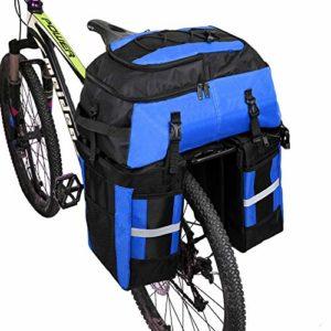 Pellor70 L Sacoche Trois Poches pour Vélo Sac De Cyclisme avec Couverture Imperméable (Noir et Bleu, Unique)