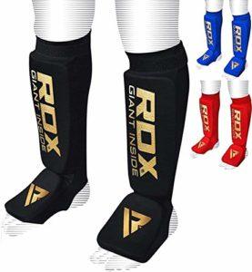 RDX Boxe MMA Protège-Tibia Kickboxing et Tibia Martiaux Jambières Protège-Tibias (CE systeme heinigt Approuvé par satra), Noir, L