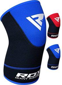 RDX MMA Néoprène Genouillère Sport Crossfit Haltérophilie Gym Protection Genou Knee Support Fitness Boxe Entraînement – Bleu – 2XL