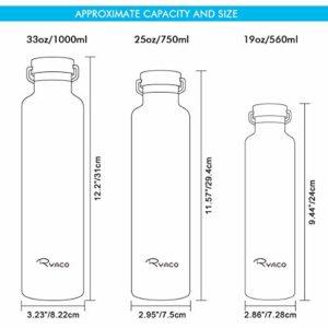RYACO Bouteille d'eau en Acier Inoxydable Isolée, 750ml Bouteille Isotherme à Double Paroi en Froid 24h & Chaud 12h, Anti-Fuites avec Brosse De Nettoyage, sans BPA pour Voyage, Camping, Burea