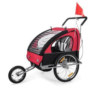 SAMAX Remorque Vélo convertible Jogger 2en1 en Rouge/Noir – Silver Frame