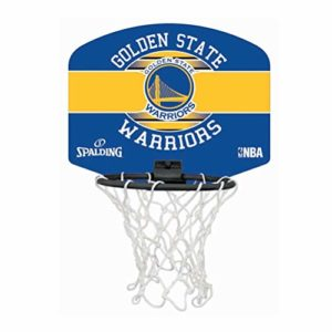 SPALDING – NBA MINIBOARD GOLDEN STATE (77-661Z) – Mini Panier Basket – Logo Officiel NBA – Mini Ballon Inclus – multicolore