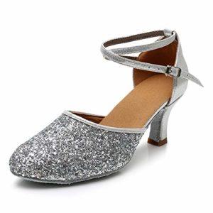 SWDZM Chaussures de Danse Femme Standard Latin Jazz Ballet Chaussures Satin Model-FR-1802-5 Argent 35EU/22CM