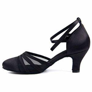 Syrads Chaussures de Danse Latine pour Femmes Chaussures de Danse Tango Valse Fête Sociale Salsa Sandale, Noir-6cm, 39 EU