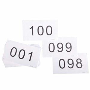 TRIWONDER Dossard Course Dossard Numéro de Course de Compétiteur 4″ x7 (001-100 ou 001-200) Indéchirable Blanc ou Coloré pour Marathon (Blanc – Numéros 001-200)