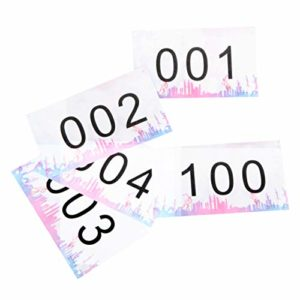 TRIWONDER Numéros de compétiteurs Tyvek Race Bib avec épingles de sûreté, 4″x7 (Jeu de 001-100 ou 001-200), indéchirable et imperméable pour Les Courses Marathon (Multicolore – Numéros 001-200)