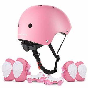 VALUETALKS Casque Enfant Vélo sport Casque Ajustable Genou Genouillère Protection Palm Sports Srotection Vélo Draisienne Skateboard Roller Skate/ Rose